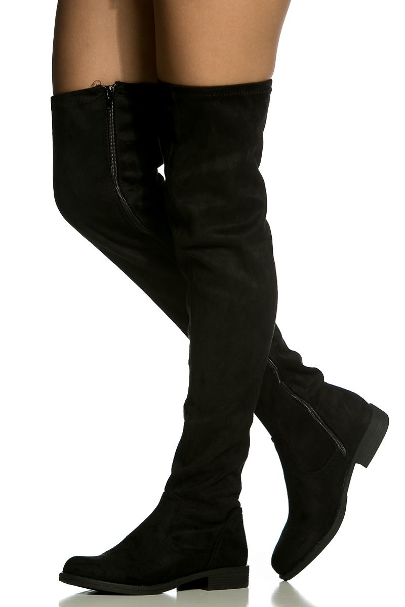 Knee High Boots Suede Black