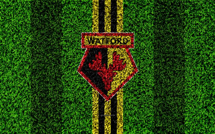 Download Wallpapers Watford FC, 4k, Football Lawn, Emblem