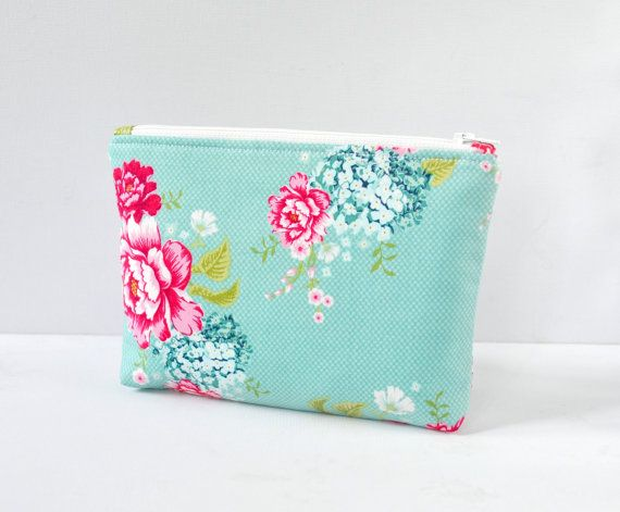 8f591fa4e28a Woman s padded travel cosmetics make up bag pouch Tilda vintage inspired  English country floral flower print in aqua blue