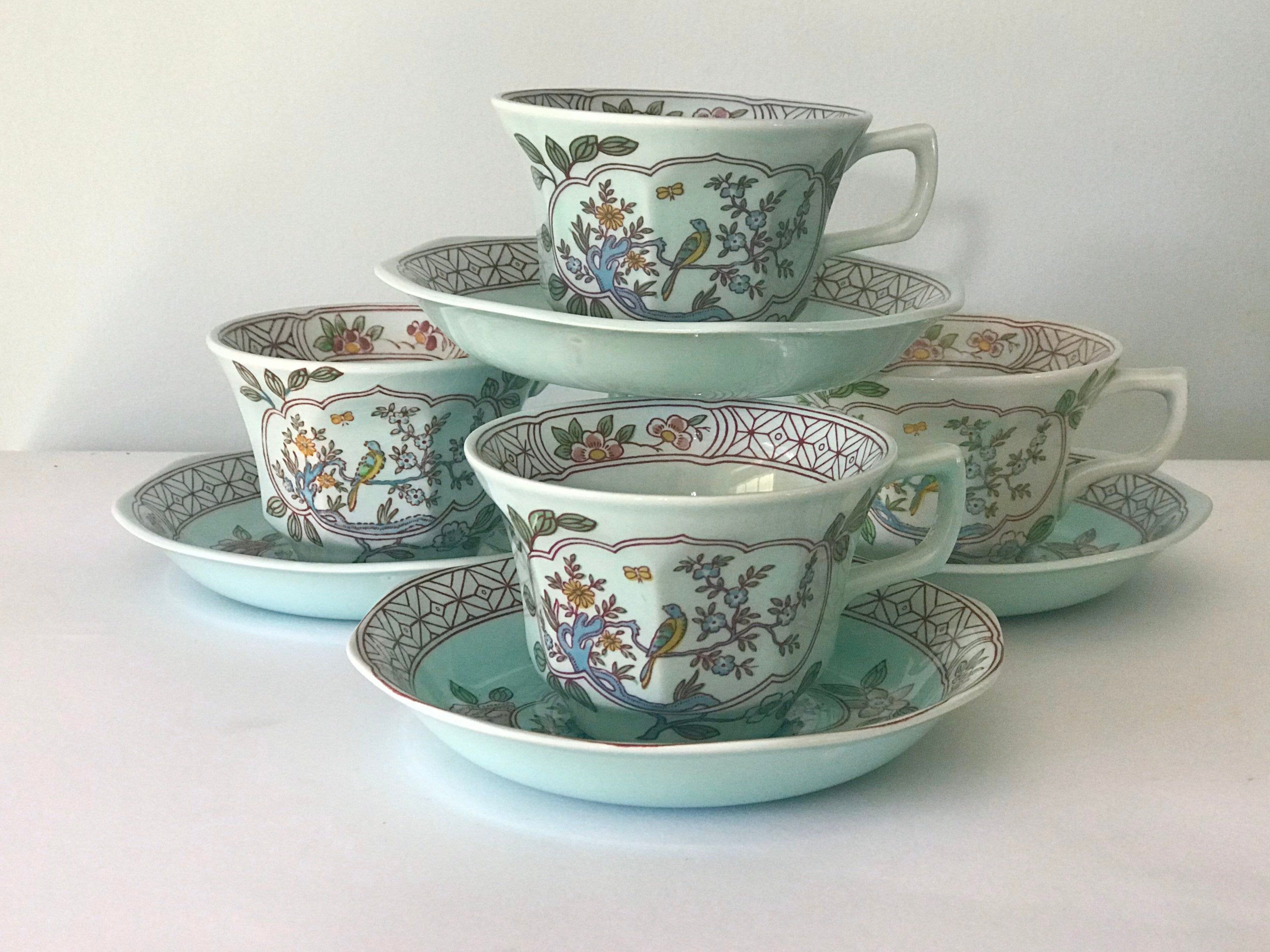 Set of 4 Adams English Ironstone Calyx Ware Cup and Saucer