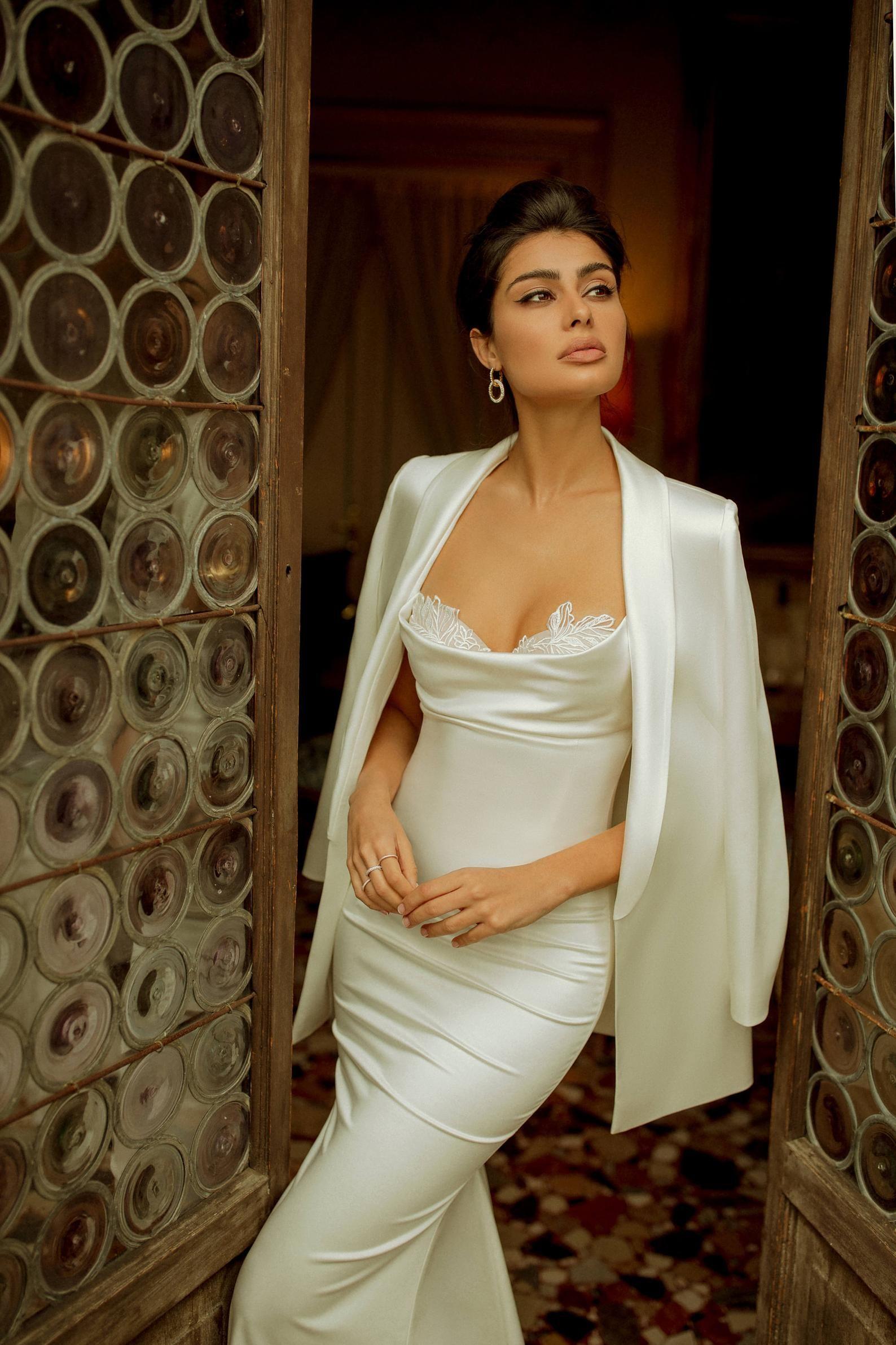 Classic satin wedding dress FEY with spaghetti straps and long train – wedding dresses