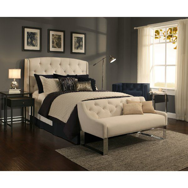 Bedroom Bench Name Bedroom Ideas Cozy Bedroom Ideas Glam Black Leather Bed Bedroom Ideas: Chenery Upholstered Wingback Headboard And Bench
