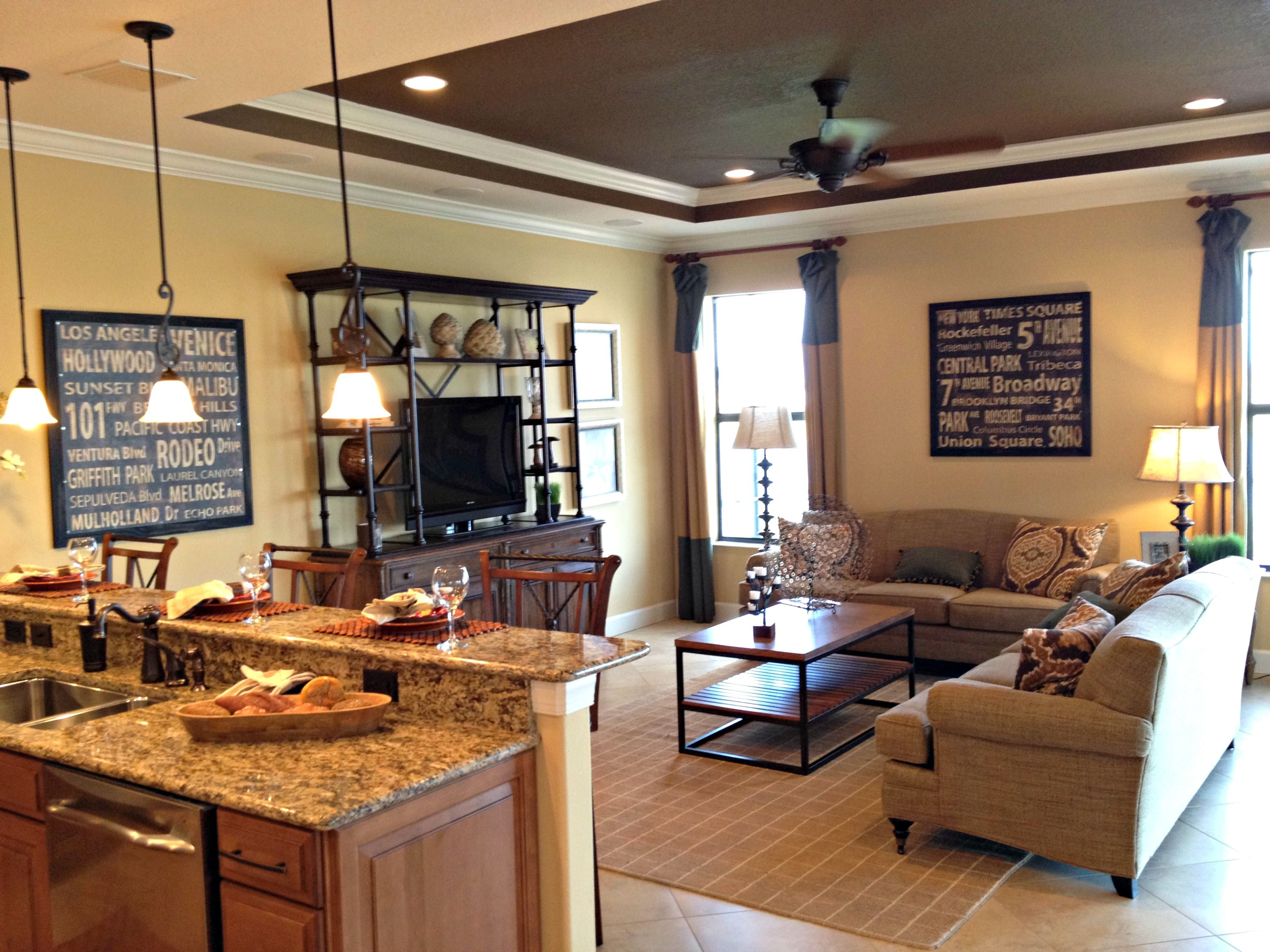 small rectangular living room kitchen combo farmhouse ...