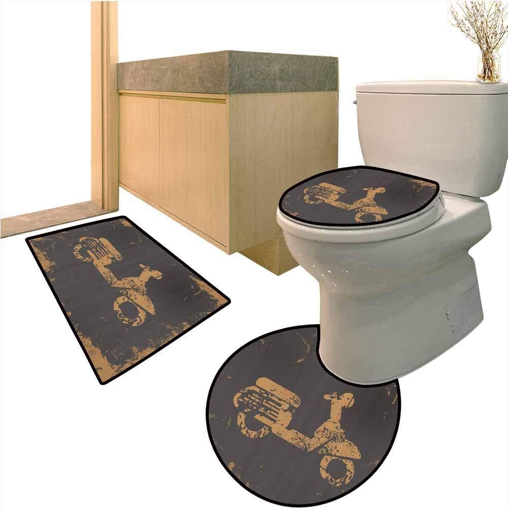 Microfiber Bath Rug Set 3 Piece Murky Vintage Sports Soft Shaggy 3 Piece Bathroom Mat And Toilet Rug Round Shaped Toilet In 2020 Bath Rugs Sets Bathroom Mats Bath Rug