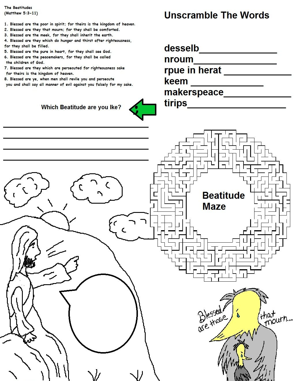 Worksheets Beatitudes Worksheet bthe beatitudes wild cards card 1 religious ed the cards