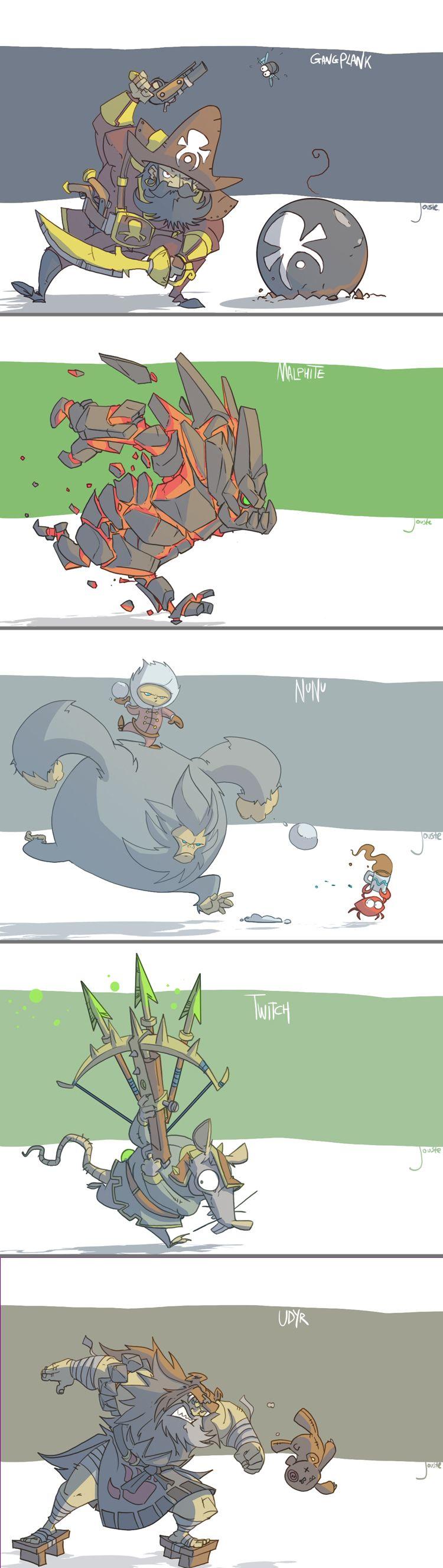 Gp Malphite Nunu Twitch Udyr By Jouste Lol League Of Legends League Of Legends Memes Character Design