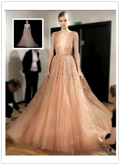 Elie Saab 2015 Summer Deep V-Neck Tulle Ball Gown Wedding Dresses ...