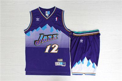 Jazz 12 John Stockton Purple Hardwood Classics Jersey(With Shorts