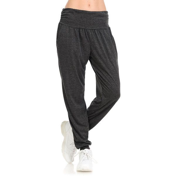 dec546b4643f4 Cool Melon Charcoal Mélange French Terry Jogger (355 MXN) ❤ liked on Polyvore  featuring