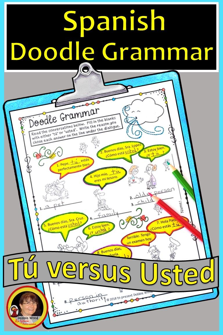 Spanish Tu Vs Usted Spanish Subject Pronouns Good Grammar Spanish Subject Pronouns Spanish Resources