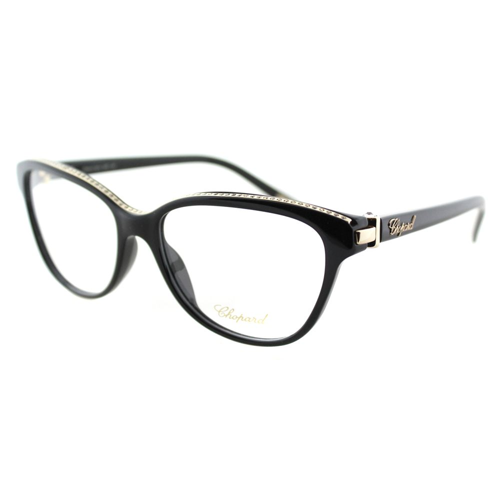 3837ef5555d Accessorize thoughtfully with these chic and sleek Chopard VCH 141S 0700  Black And Gold 23KT With Stones Plastic Cat Eye Eyeglasses.