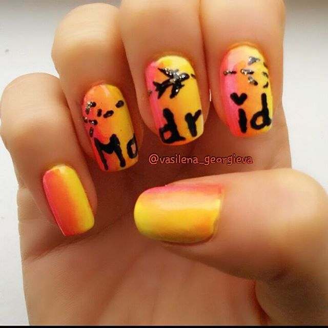 My nails for a trip to Madrid, Spain <3 ✈   Vasilena\'s nails ...