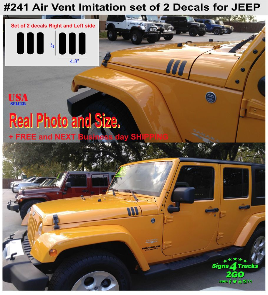 241 2pcs Air Vent Flow Fender Hood Decal Graphic Jeep Wrangler