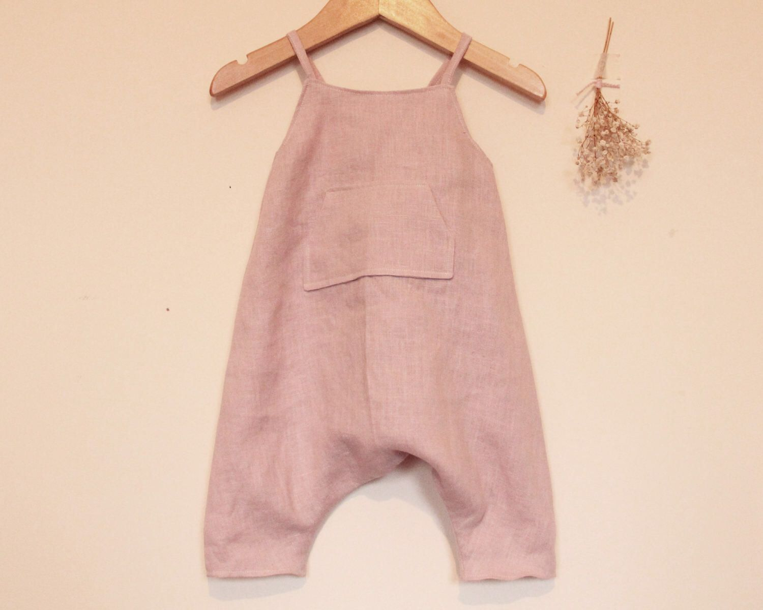 96cf709cf6bb Handmade baby romper. Light pink washed linen romper. Girls romper. Toddler  romper.