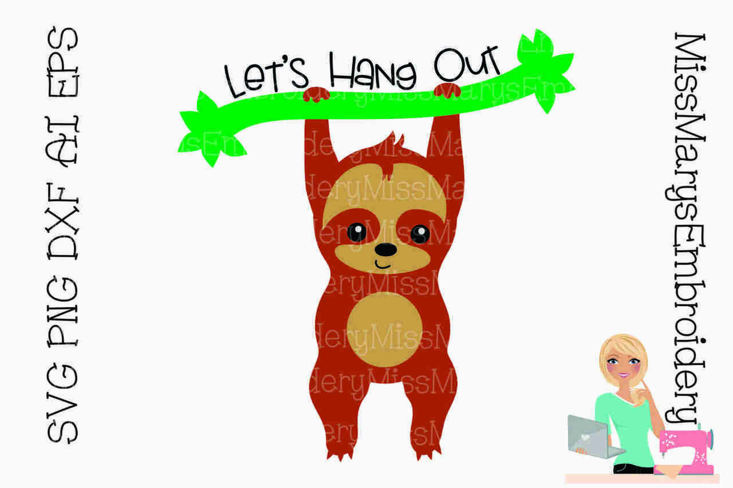 Let's Hang Out Sloth SVG Hanging out, Svg, Sloth