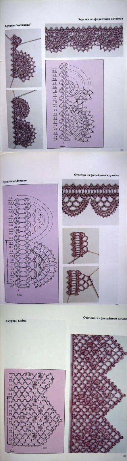 Letras e Artes da Lalá: Barrado de crochê (com gráfico) | πλεκτα ...