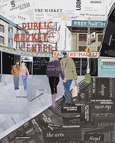 """Click to purchase very limited edition Pike Place Market giclee reproduction titled """"11:45"""" in  20""""x 16"""" size. Words featured are Seattle, market, shop, farmers market.  $140 http://curtnerart.com/Merchant2/merchant.mvc?Screen=PROD&Product_Code=PRT-114520&Category_Code="""