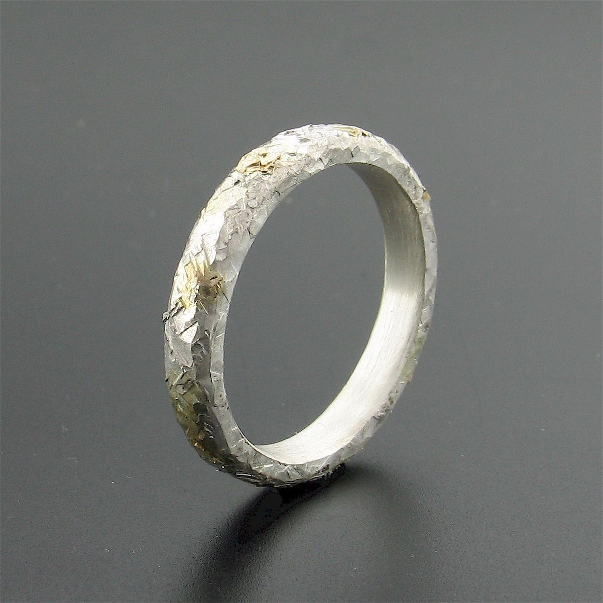 Silver and gold Sunrise court wedding ring with rustic