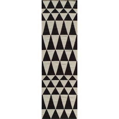 Varick Gallery Hagler Hand Woven Black Area Rug Rug Size Wool Runner Rug Black Rug Black Area Rugs