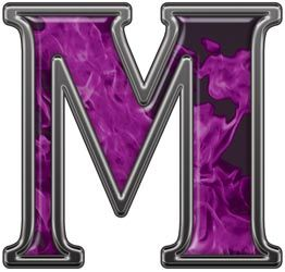 m letter m with inferno purple flames reflective letter m with inferno