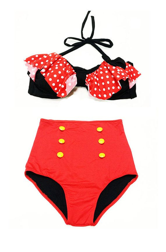 6abac7cb7e0ef Black/Red Polkadot Bow Top and Red High Waisted by Venderstore on  www.venderstore.com, $39.99