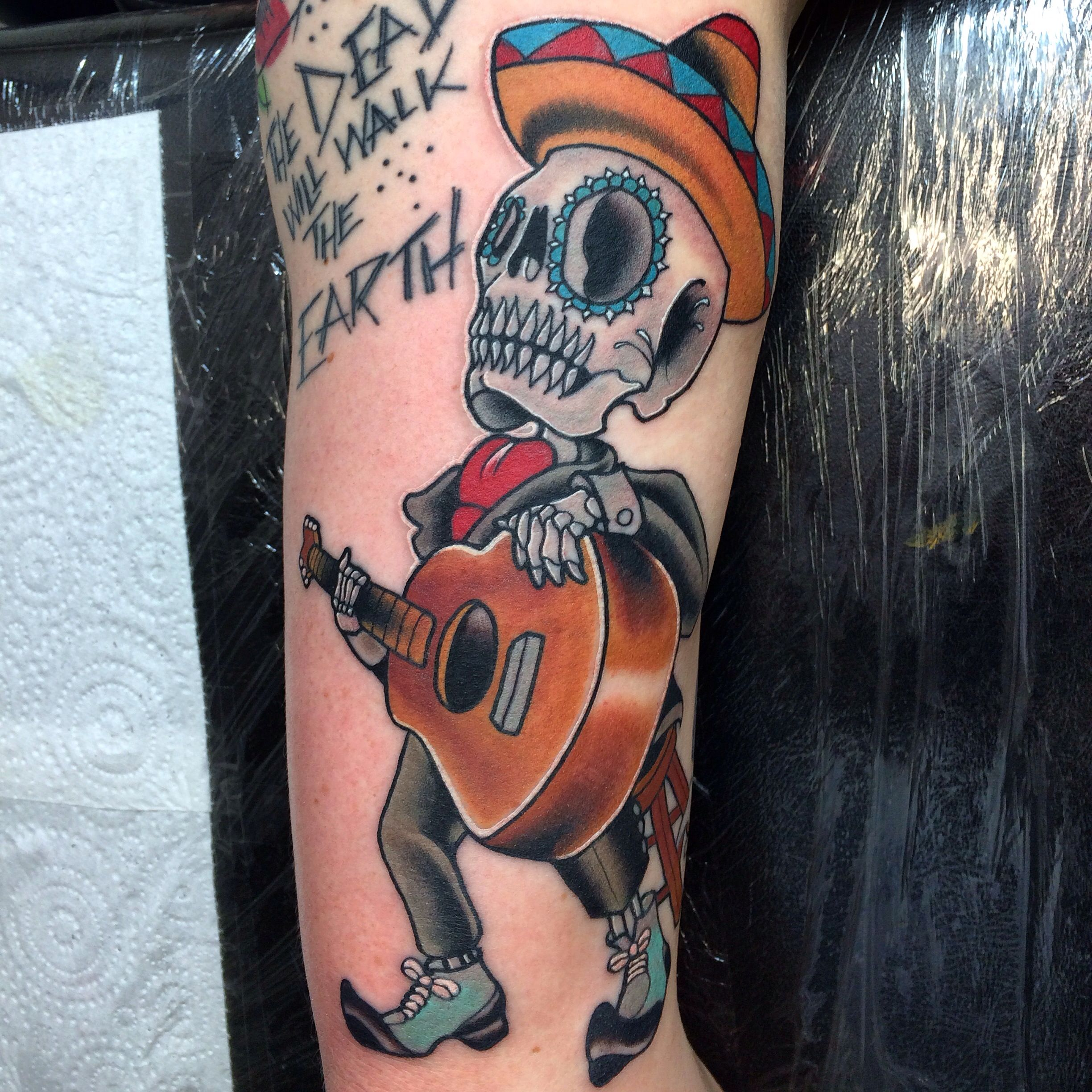 Mexican Skeleton Dude Playing Guitar With Images Sleeve