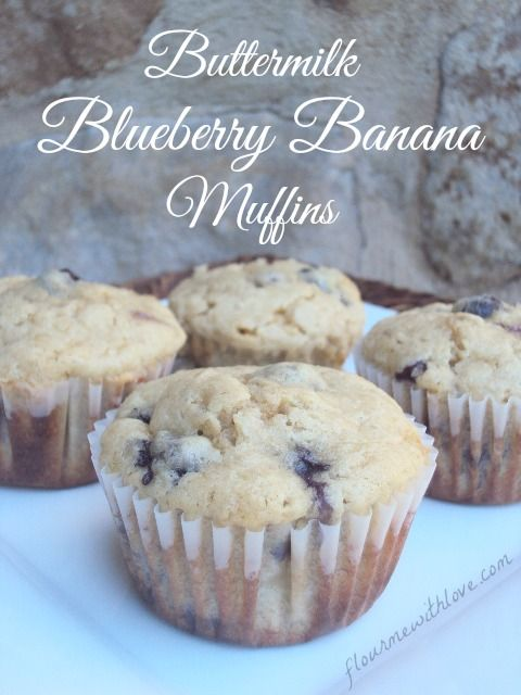 Buttermilk Makes These Blueberry And Banana Muffins Moist And Delicious Banana Blueberry Muffins Banana Muffins Banana Recipes
