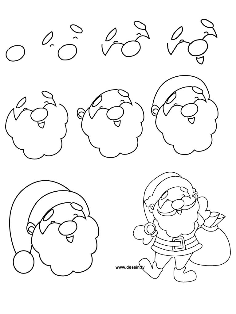 drawing santa claus - Christmas Drawings Step By Step