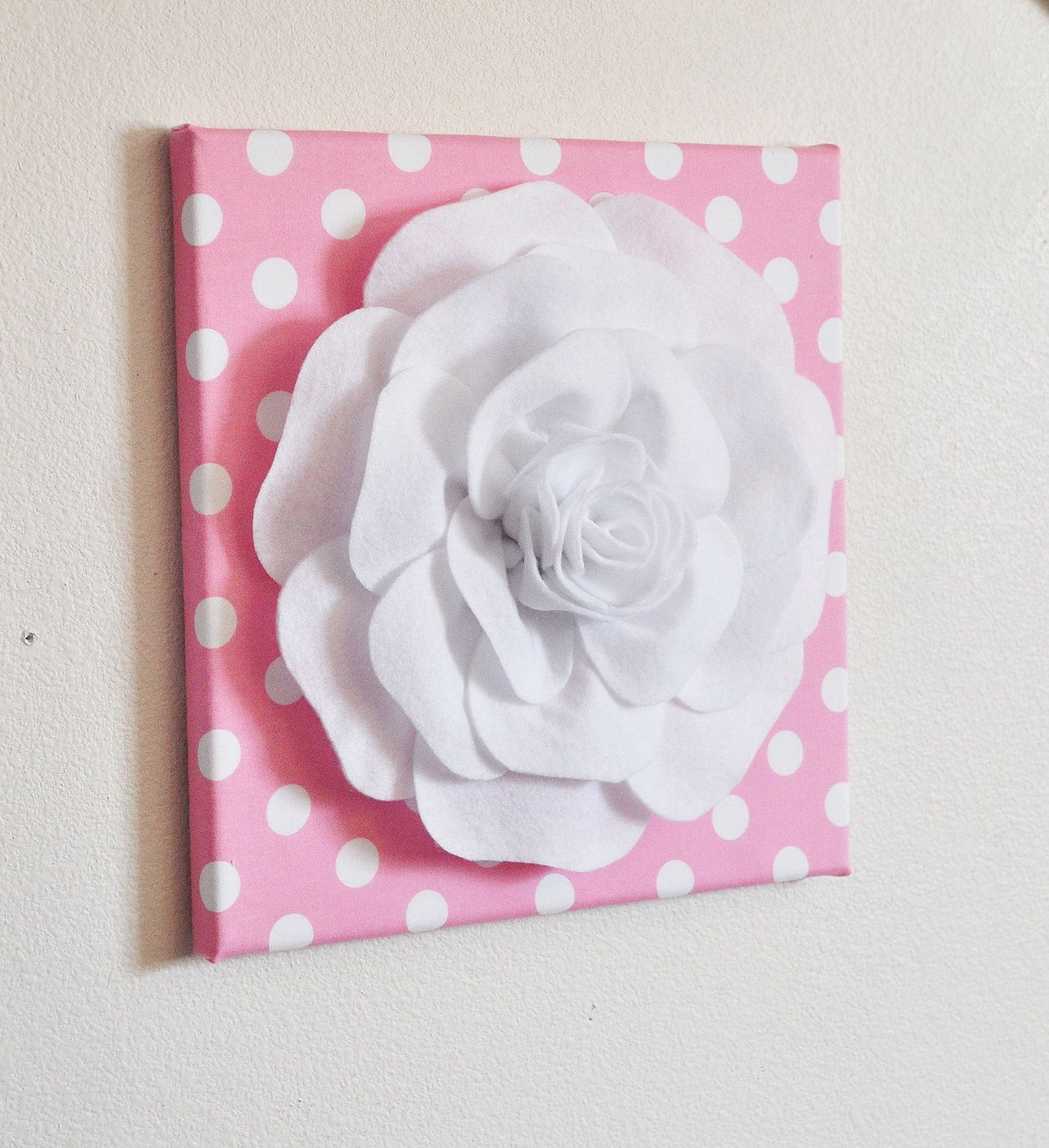 Nursery wall decor white rose on pink with white polka by bedbuggs