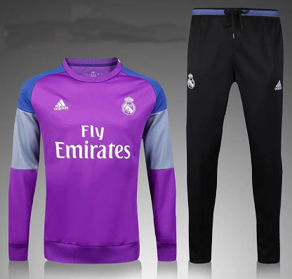 2016 2017 Real Madrid Training Kit Purple For Kids Basketball Clothes Football Outfits Sweatsuit