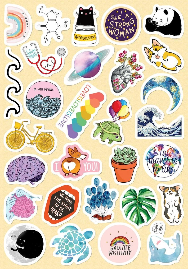 Photo of Small & Large Custom VSCO Girls Stickers Light Pink Blue Yellow Stickers for Phone Case (About 1×1″ ) for Bottle Laptop (About 2×2″) 29 PCs