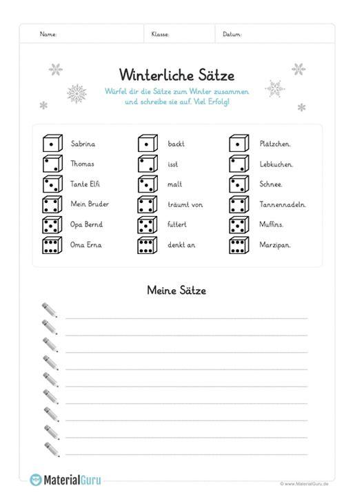 ein kostenloses arbeitsblatt zum thema winter auf dem die sch ler sich lustige s tze zum winter. Black Bedroom Furniture Sets. Home Design Ideas