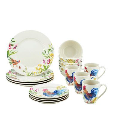 Another great find on #zulily! Garden Rooster 16-Piece Dinnerware Set #zulilyfinds
