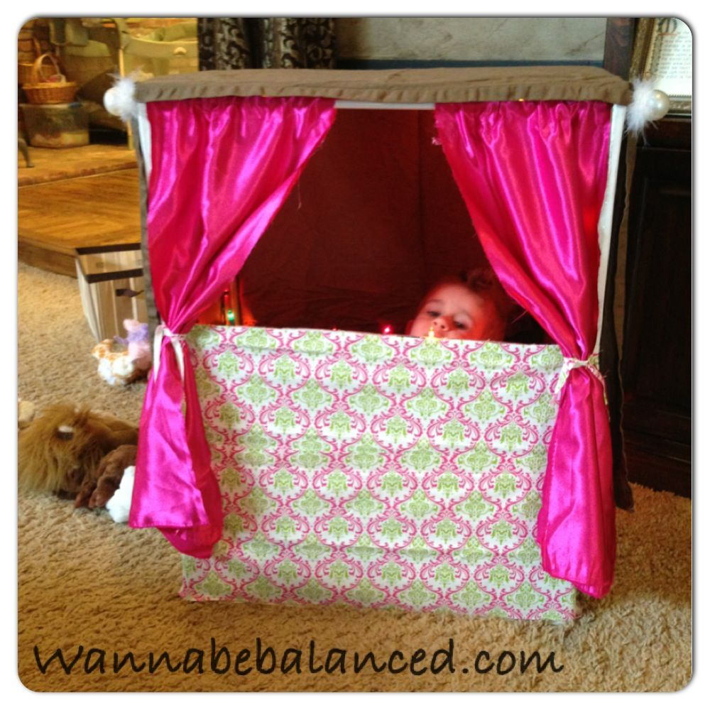 Puppet show stage out of a cardboard box. Curtain rod, fabric (duct ...