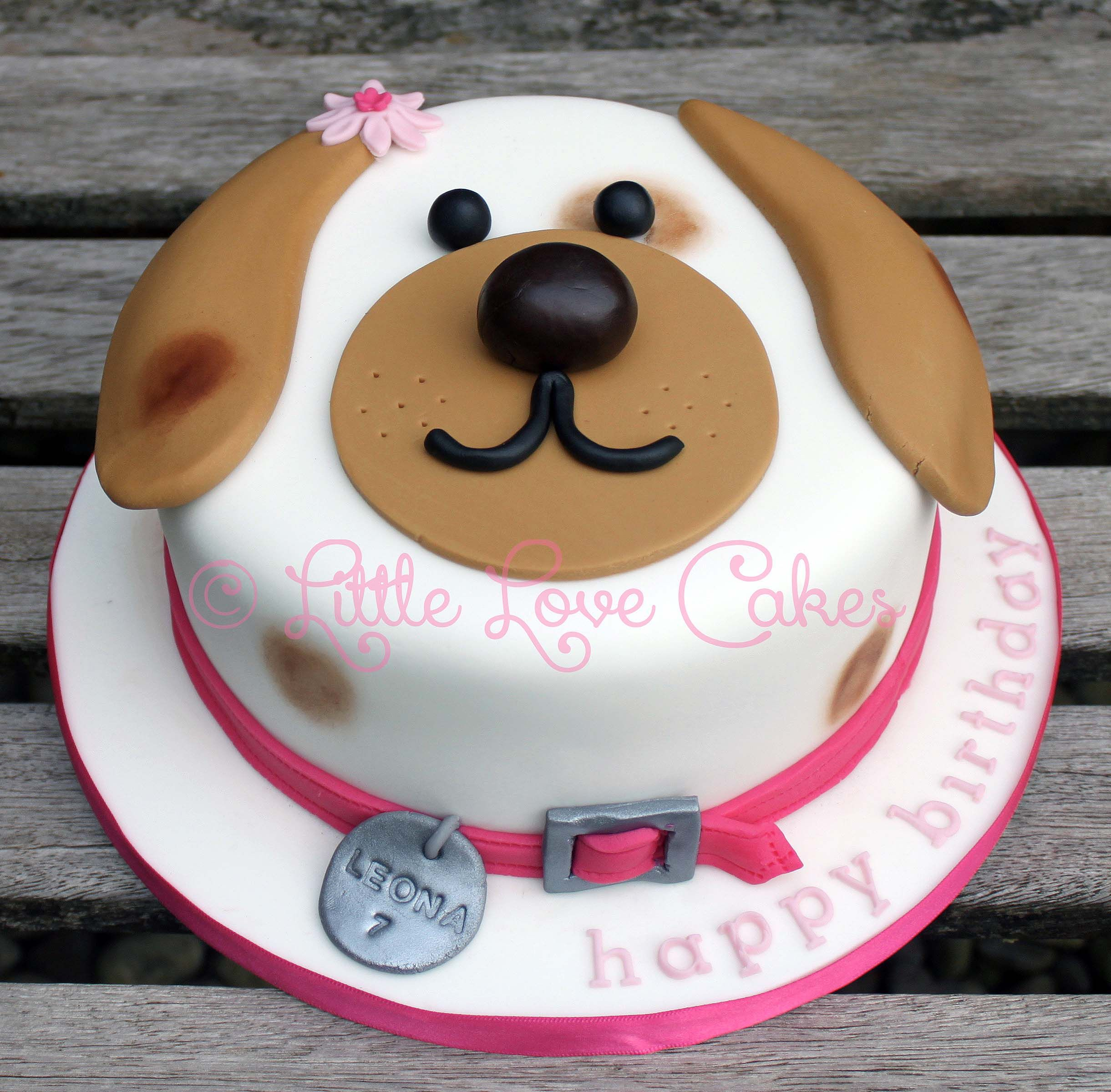 Strange Little Love Cakes Cute Dog Face Cake With Images Puppy Personalised Birthday Cards Veneteletsinfo