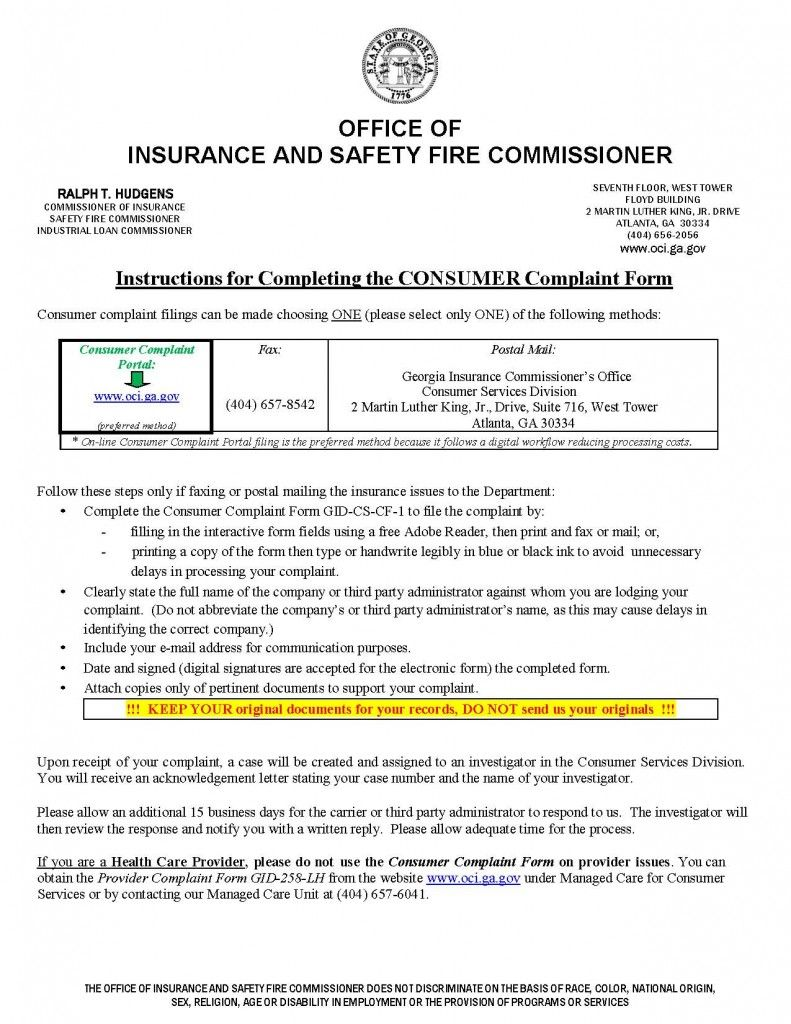 Insurance Commissioner Complaint Ga