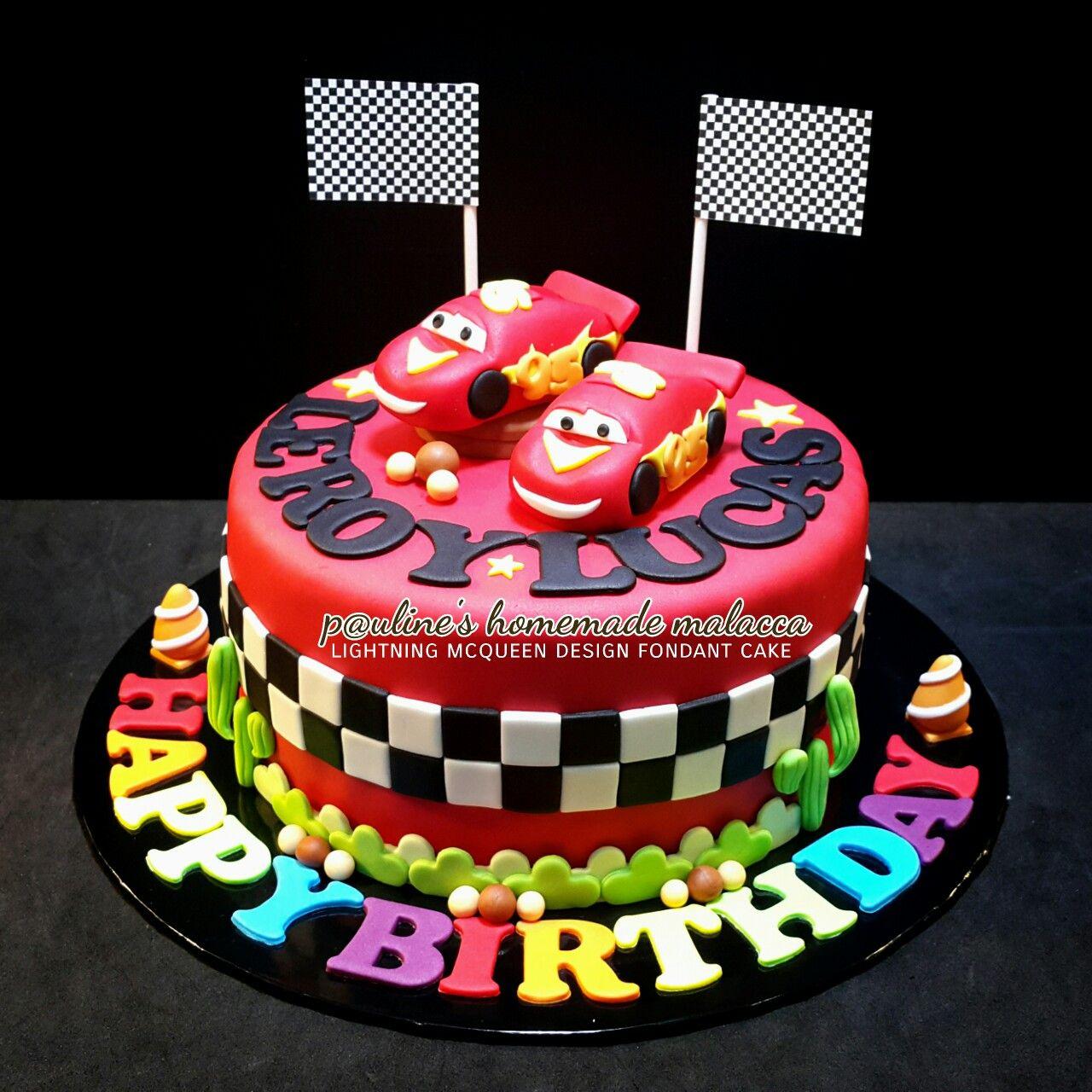 Lightning Mcqueen Design Fondant Cake For Twins Birthday Boy
