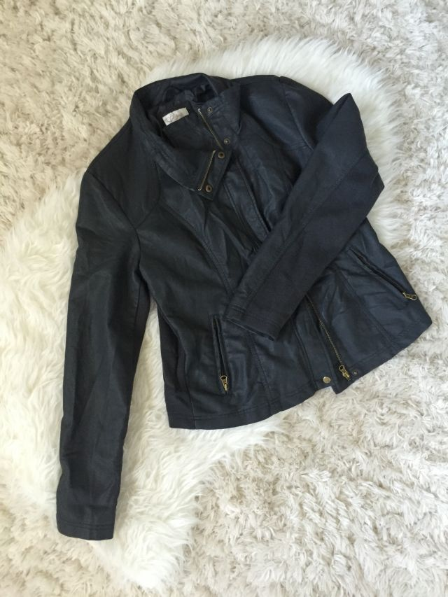 5bbfd25b1f8 RD Style Rhonda Knit Back Faux Leather Jacket. Sent from  StitchFix and I  LOVE