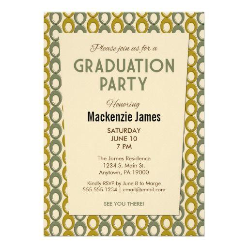 Retro green gold mid century graduation 5x7 paper invitation card green mens graduation invitation retro vintage filmwisefo