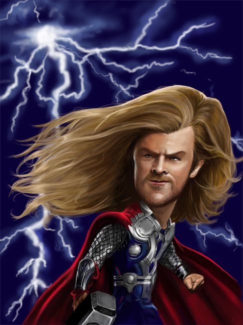Caricatura De Chris Hemsworth Como Thor Caricatures Pinterest