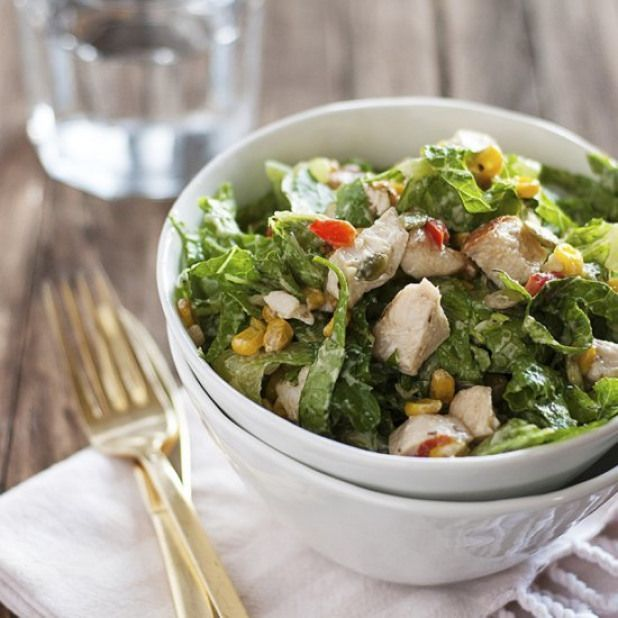 Creamy Garlic Chicken Salad #creamygarlicchicken Creamy Garlic Chicken Salad. A creamy garlic chicken salad featuring roasted bell pepper and corn crisp romaine chicken and a creamy garlic dressing. #chicken #poultry #recipes #creamygarlicchicken