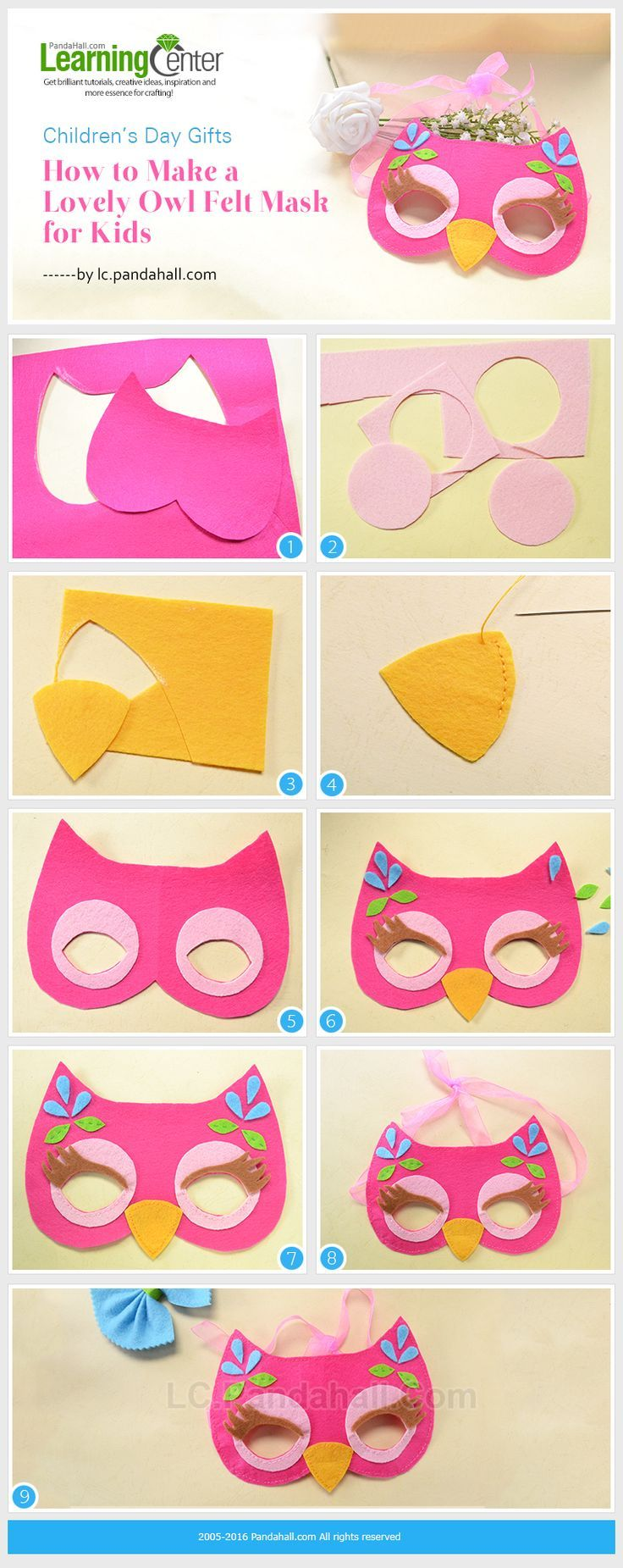 Children's Day Gifts-How to Make a Lovely Owl Felt Mask for Kids from LC.Pandahall.com