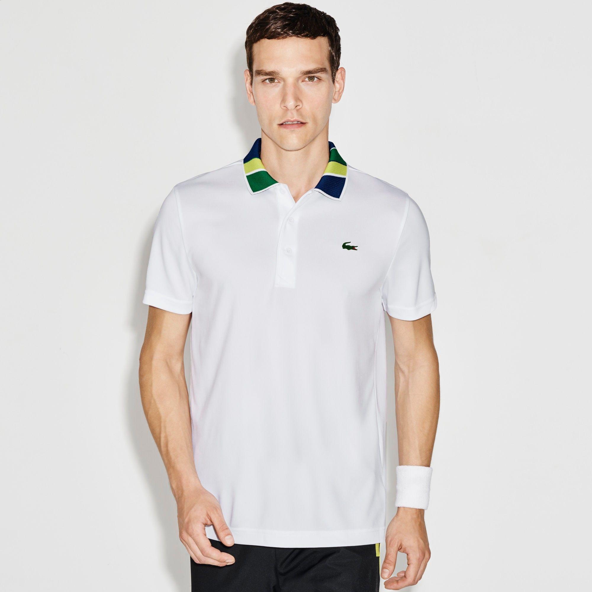 Lacoste Men S Sport Print Neck Technical Pique Tennis Polo White Lemon Tree France W Modesens 2020