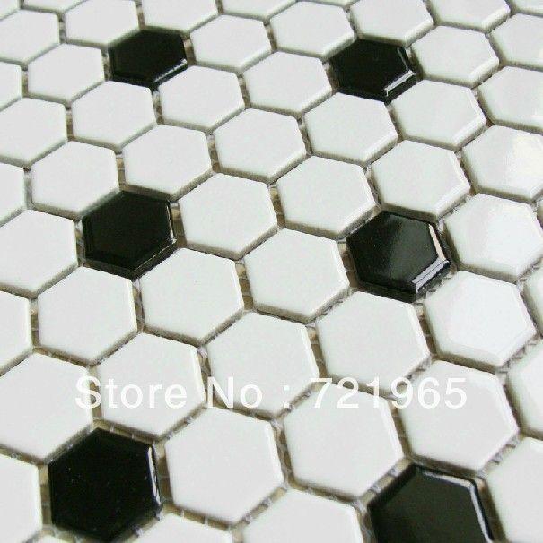 Economico trasporto libero in bianco e nero hexagon piastrella mosaico porcellanato muro di - Mosaico bagno economico ...