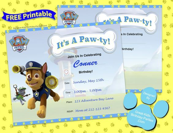 Free Paw Patrol Birthday Invitation Template More free Paw Patrol - free templates for invitations birthday