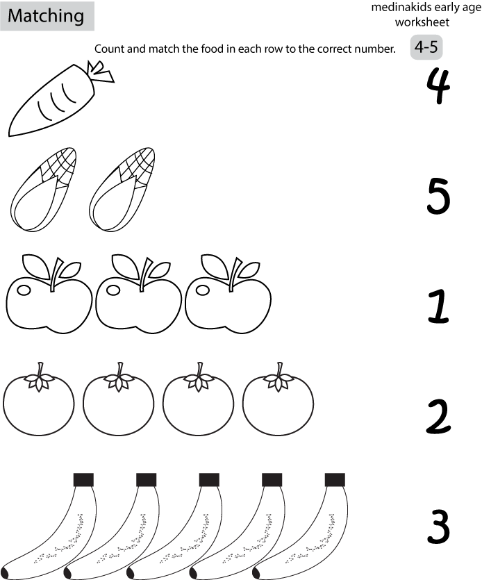 Reduction In Shape Fruit Coloring Page – Number Matching Worksheets for Kindergarten
