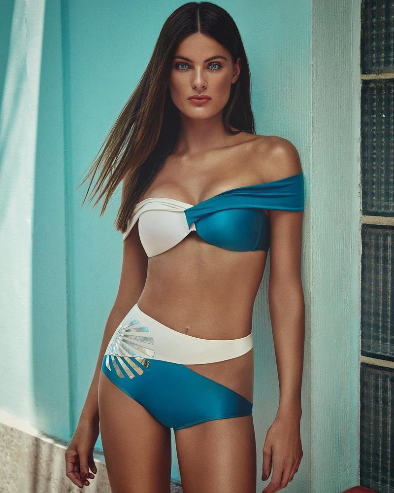 ec829cacf6875 Isabeli Fontana poses in off-the-shoulder, bi-color bikini from Agua de Coco  summer 2018 collection