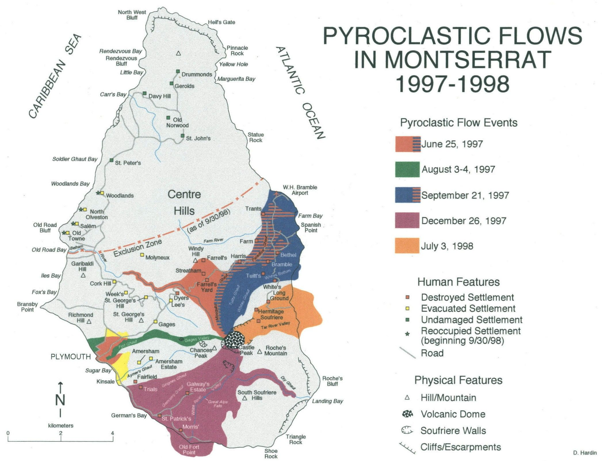 Prefijo Meso Map Of Montserrat Showing The Pyroclastic Flows Of The