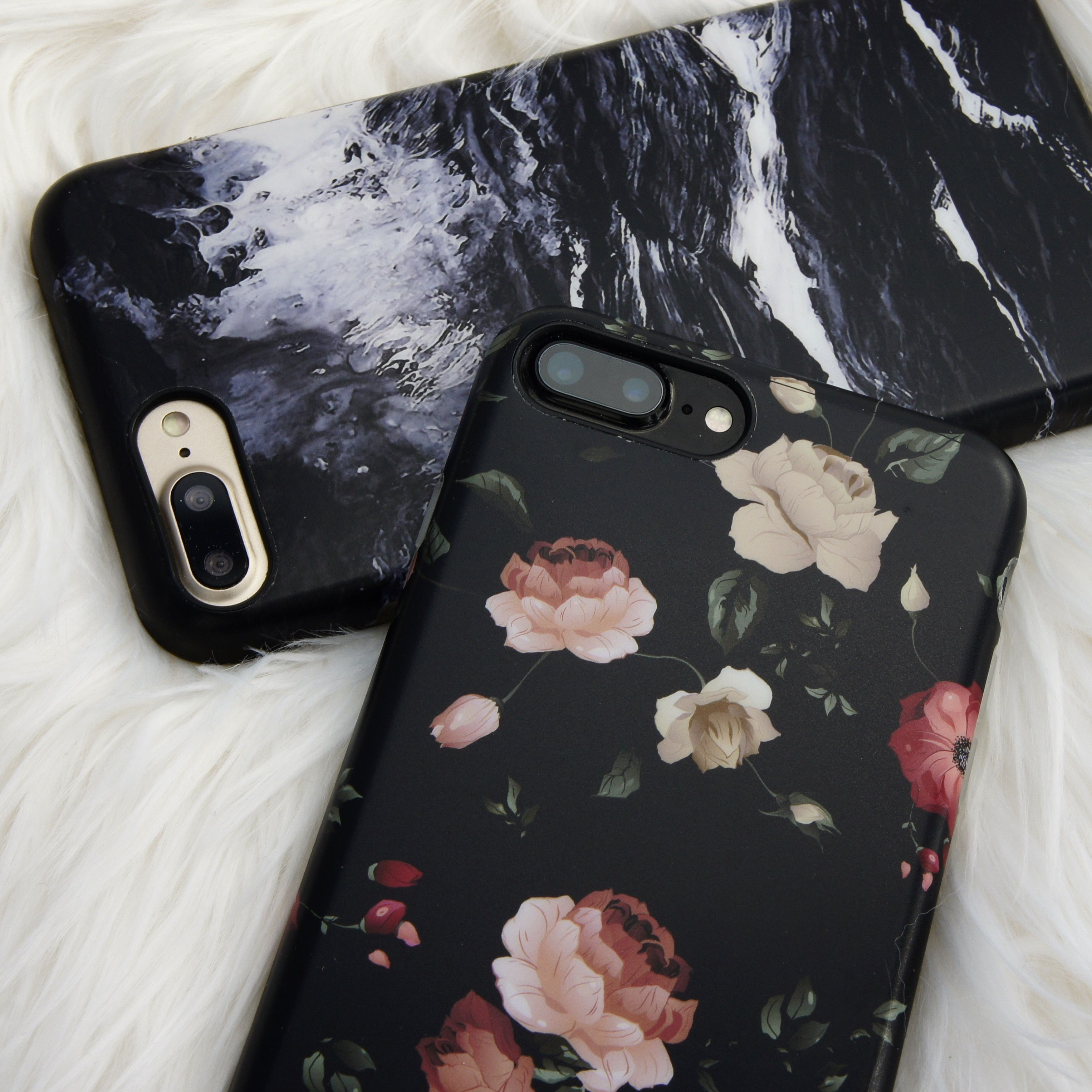 Black Marble & Dark Rose Florals for iPhone 7 & iPhone 7 ...