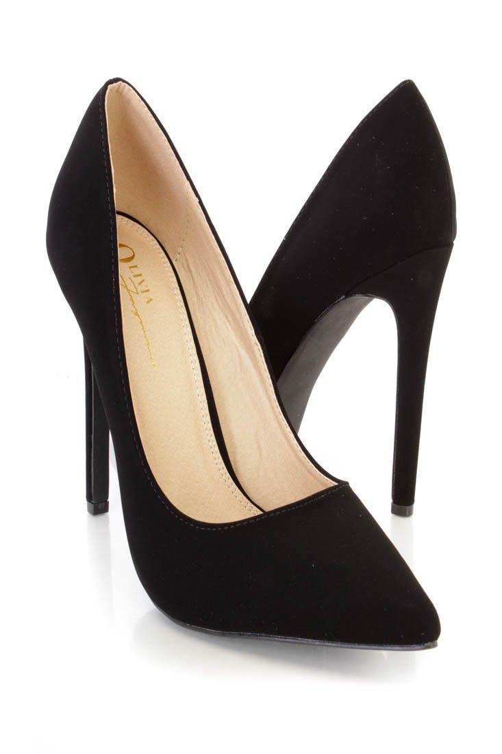 Black Pointed Toe Single Sole Pump High Heels Nubuck | Sole, High ...